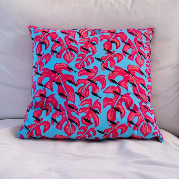 monstera fish seay pillow recycled polyester