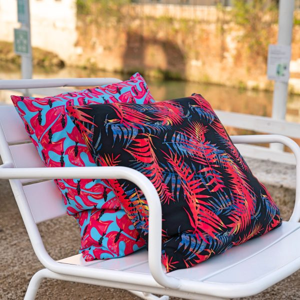 monstera fish night palms pillow recycled polyester polyamide