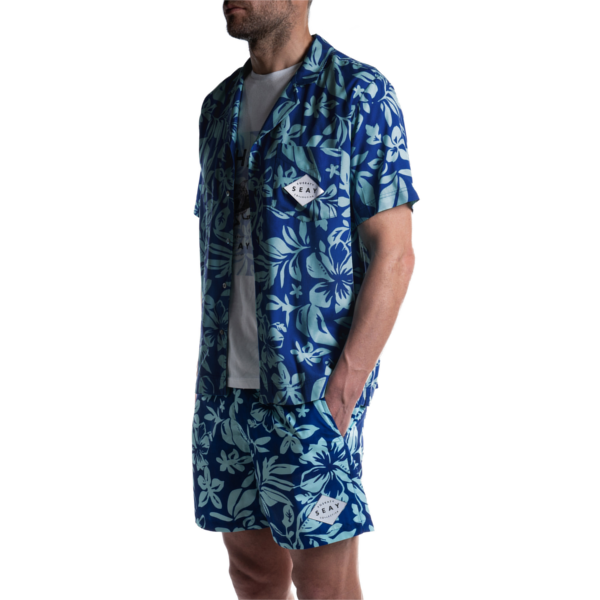 SEAY Hawaiian Short Sleeve Shirt Hibiscus<br> 100% Viscose