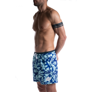 SEAY Swim Boxer Medium Hibiscus<br> 100% Recycled Polyester