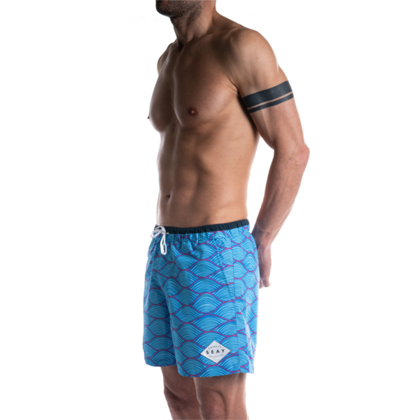 SEAY Swim Boxer Medium Waves<br> 100% Recycled Polyester