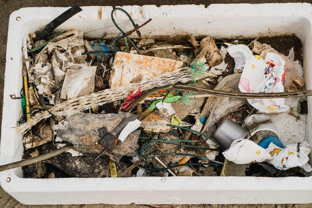 polystyrene boxes plastic debris mix waste materials beach clean up marina porto caleri