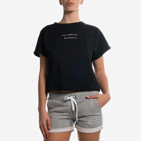 Crop T-Shirt Black Palms
